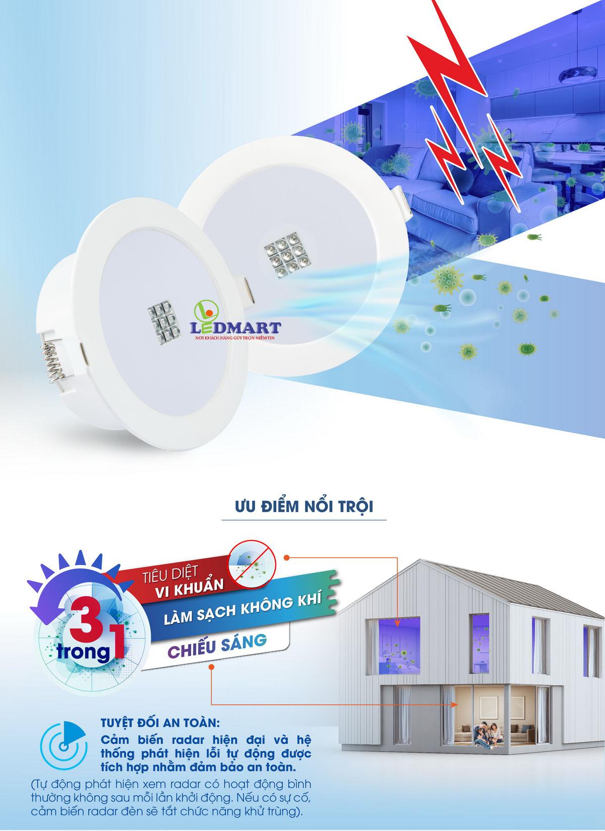 Đèn âm trần khử khuẩn Rạng đông AT21.UV-90-7w